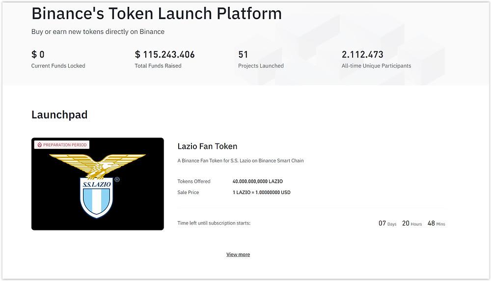 Binance Launchpad How to buy Lazio fan tokens Worldwide