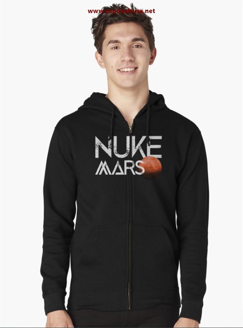 Nuke Mars Space Exploration Rocket Terraform Design Zipped Hoodie