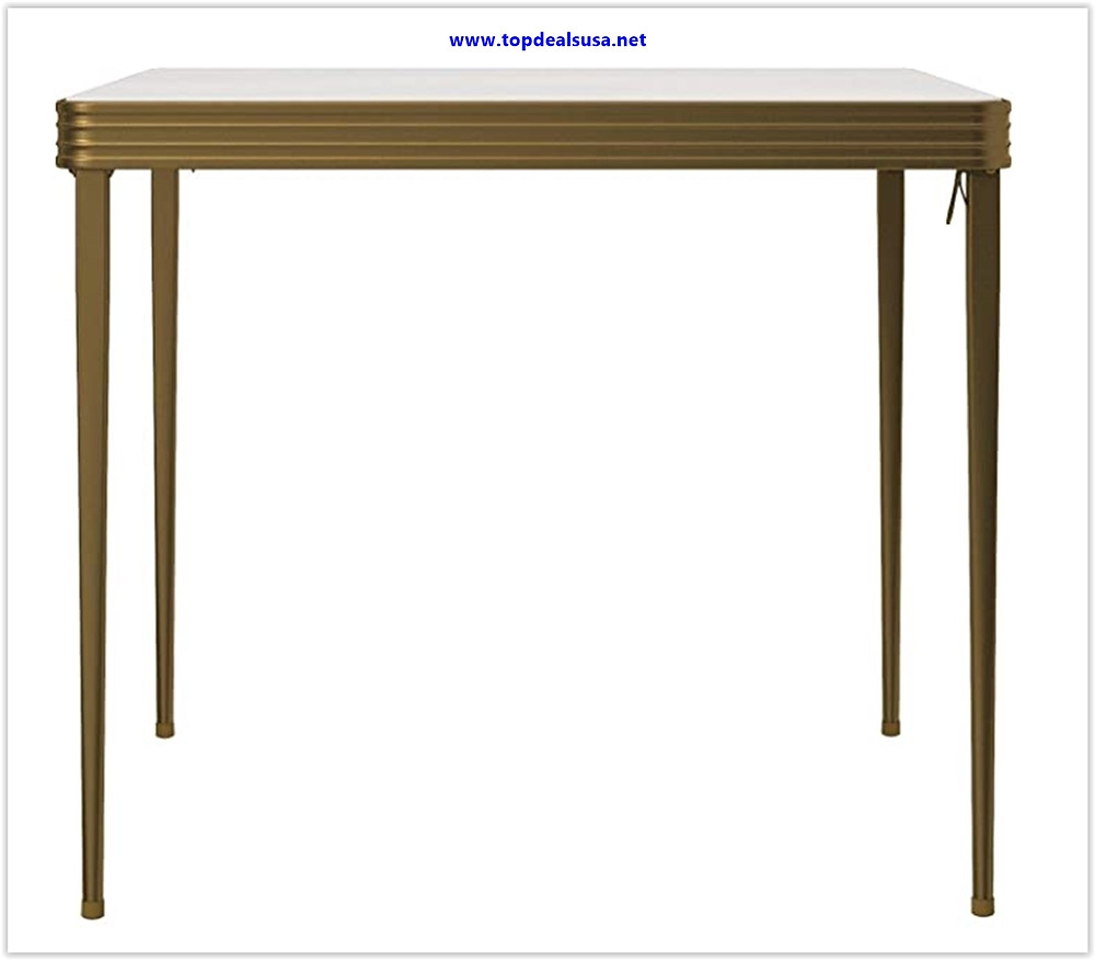 Best buy CoscoProducts COSCO Stylaire 32 Square Vinyl Top Folding Table, Gold & White