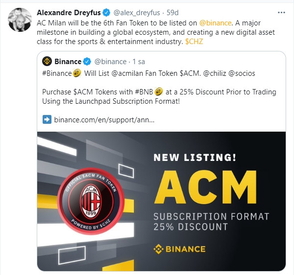 Binance and Chiliz offer, the A.C Milan token is listed here are the details How to buy