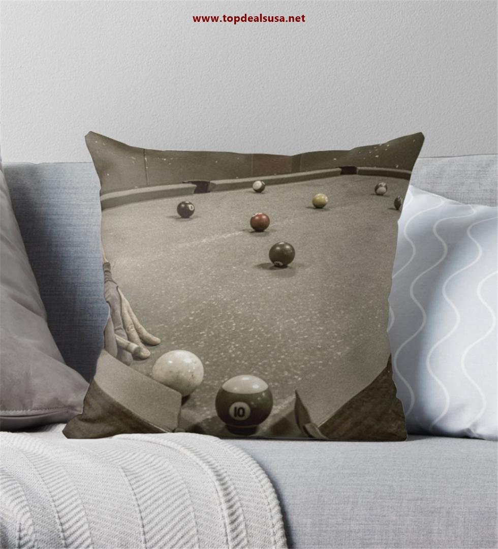 Old School Billiards Throw Pillow
