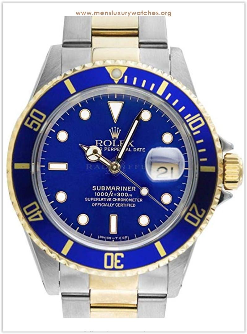 ROLEX Sub Blue Submariner Stainless Steel & 18 Karat Yellow GOLD Diver Men's Watch