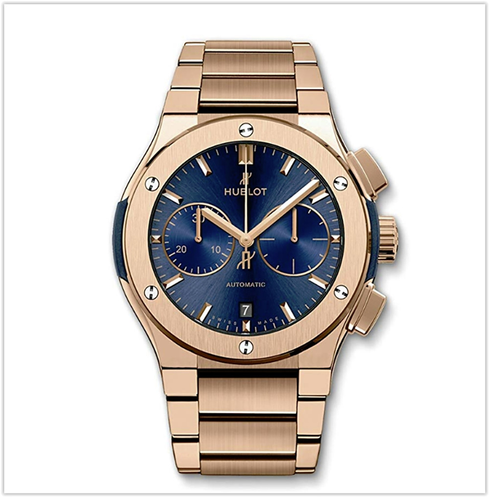 Black friday deals Hublot Classic Fusion Chronograph 45mm Mens Watch Rose Gold Blue Dial