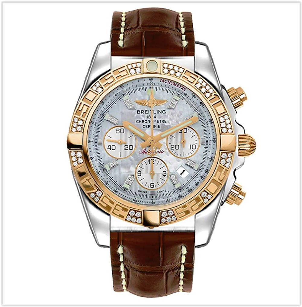 Black friday deals Breitling Chronomat 44mm Diamond Bezel Brown Strap Mens Watch