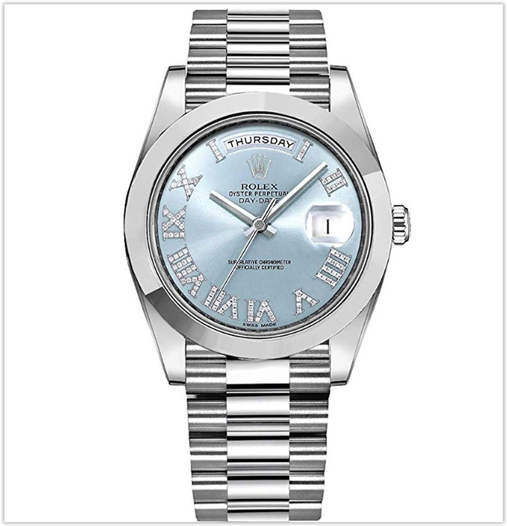 Rolex Day-Date Platinum 41mm Men's Watch with Diamond Roman Numeral Hour Markers best price