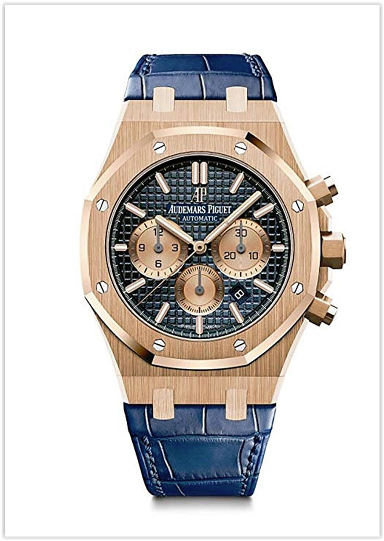 Audemars Piguet AP Royal Oak Chronograph Novelty 41 Rose Gold Blue Dial Men's Watch Best Price