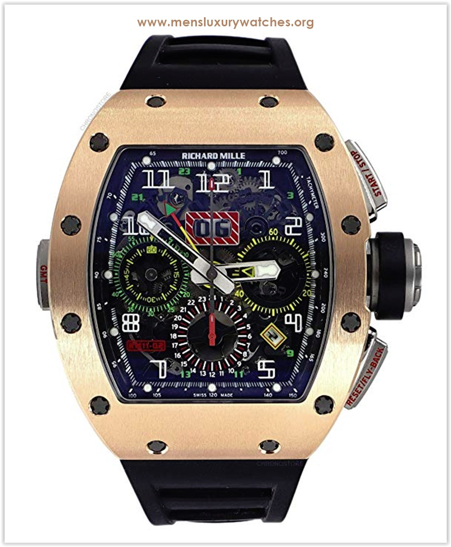 Richard Mille RM 11-02 GMT Rose Gold Titanium Rubber Automatic Mens Watch the best price