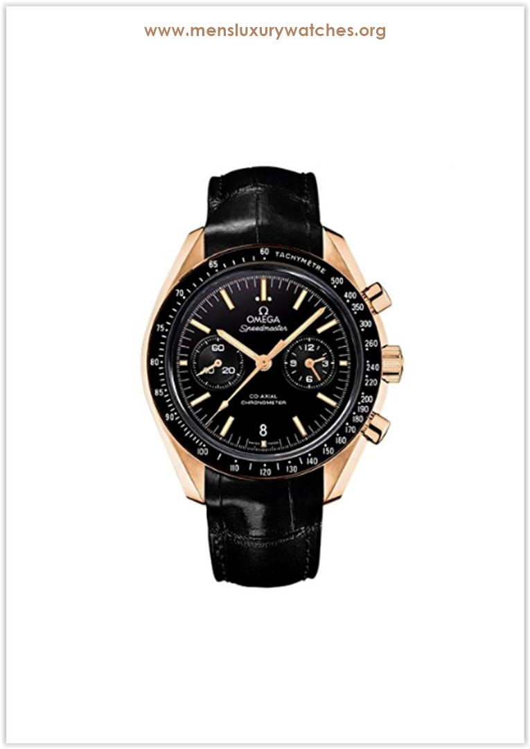 Omega Speedmaster Moonwatch Black Dial Chronograph 18kt Rose Gold Black Alligator Leather Men's Watch Price