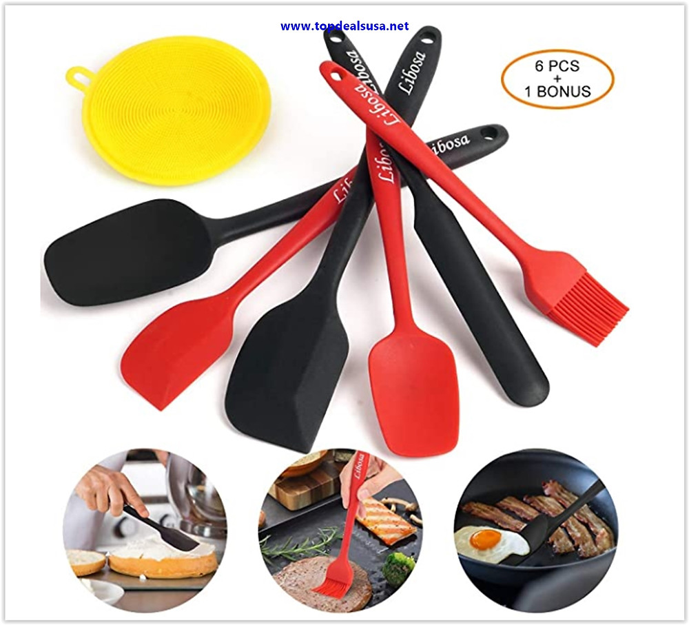 Best buy Silicone Spatula Set Rubber Spatulas Heat-Resistant Kitchen Spatulas Utensils Sets Non-Stick for Cooking Baking Mixing with Stainless Steel Core 6 Piece One-piece Design
