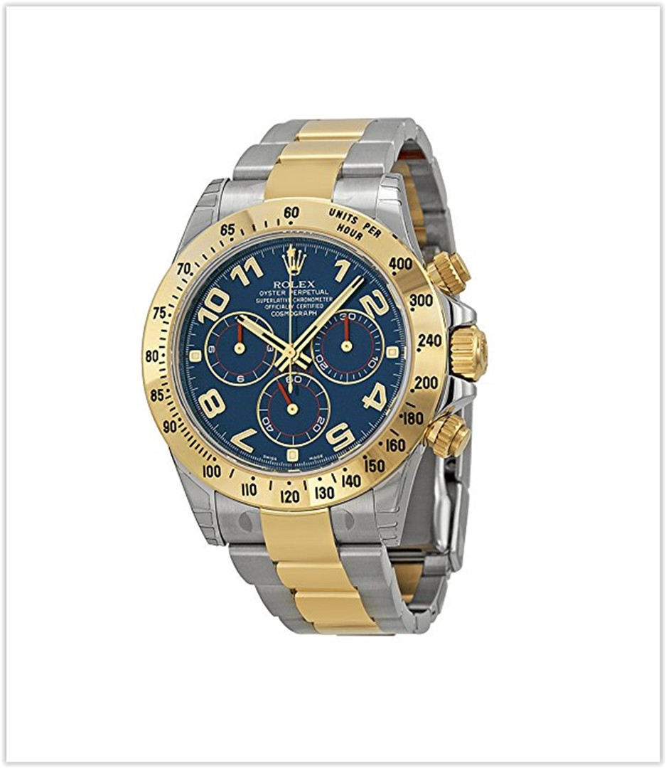 Rolex Daytona Blue Chronograph Steel and Yellow Gold Mens Watch