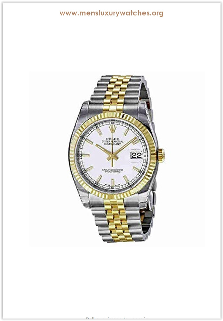 Rolex Datejust White Index Dial Jubilee Bracelet Fluted Bezel Two-tone Men's Watch Price