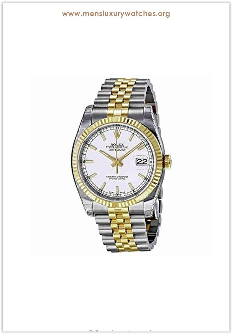 Rolex Datejust White Index Dial Jubilee Bracelet Fluted Bezel Two-tone Men's Watch Price