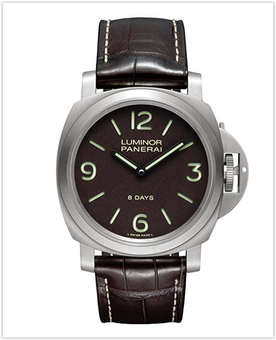 Panerai Luminor Base 8 Days Acciaio Mechanical Brown Dial Men's Watch best price