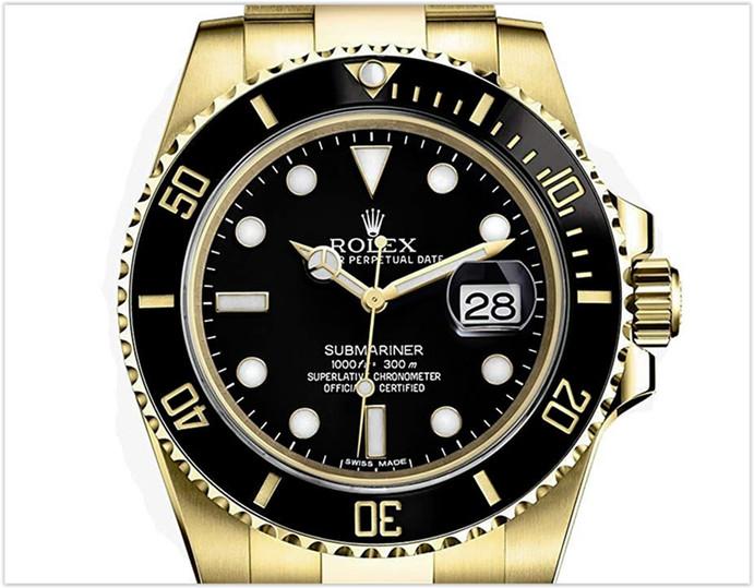 Rolex Submariner Yellow Gold Watch Black