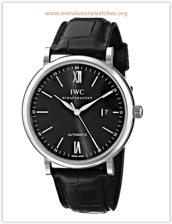 IWC Men's IW356502 Portofino Automatic Black Dial Watch Price May 2019