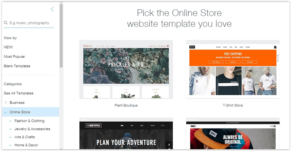 Free online store website templates
