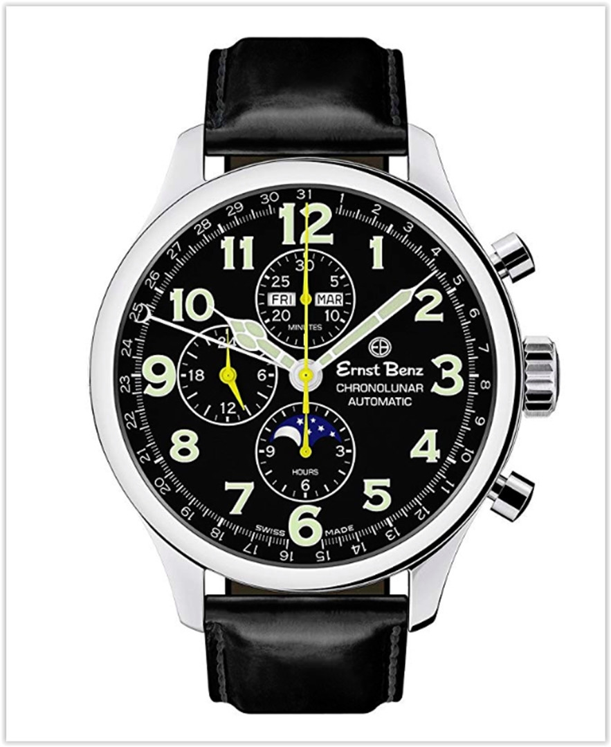 Ernst Benz Chronolunar Automatic Chronograph Moonphase Black Matte Leather Band 47mm Men's Luxury Watch best price