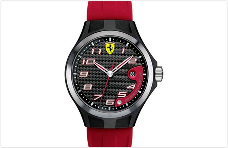 Scuderia Ferrari Men's Lap Time Black and Red Rubber Watch