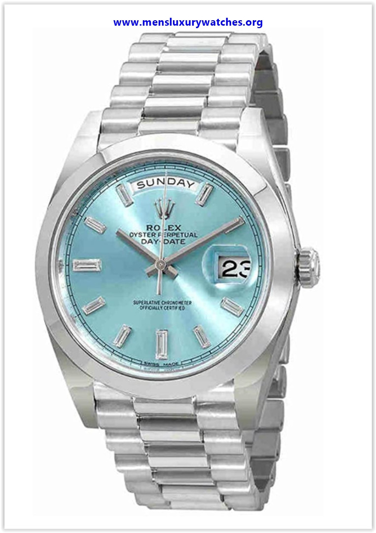 Best buy Rolex Oyster Perpetual Day-Date Ice Blue Baguette Dial Platinum President Automatic Men's Watch
