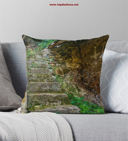 Stairs of the village house Throw Pillow