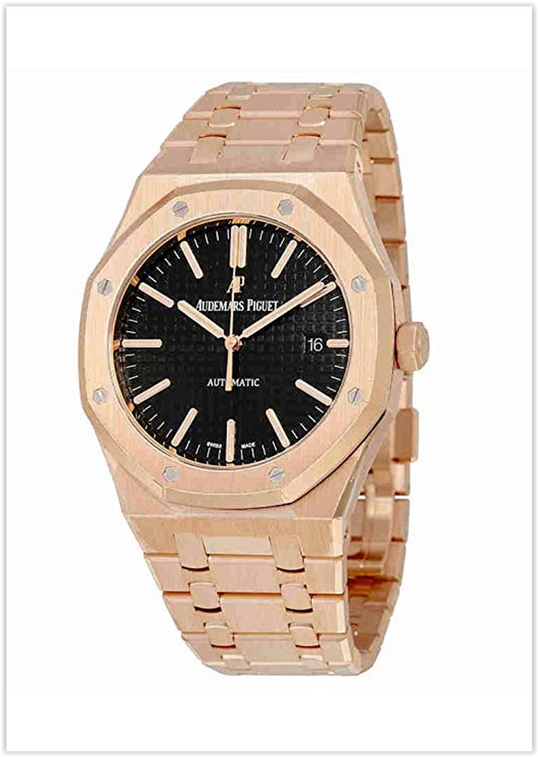 Audemars Piguet Royal Oak Automatic Black Dial 18kt Rose Gold Bracelet Men's Watch price