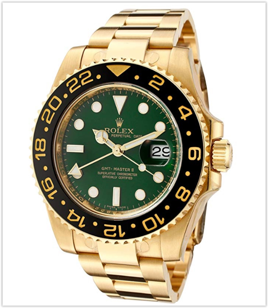Rolex Men's Master II Automatic GMT Green Dial Oyster 18k Solid Gold Watch