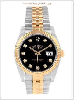 Rolex Datejust Steel Yellow Gold Black D