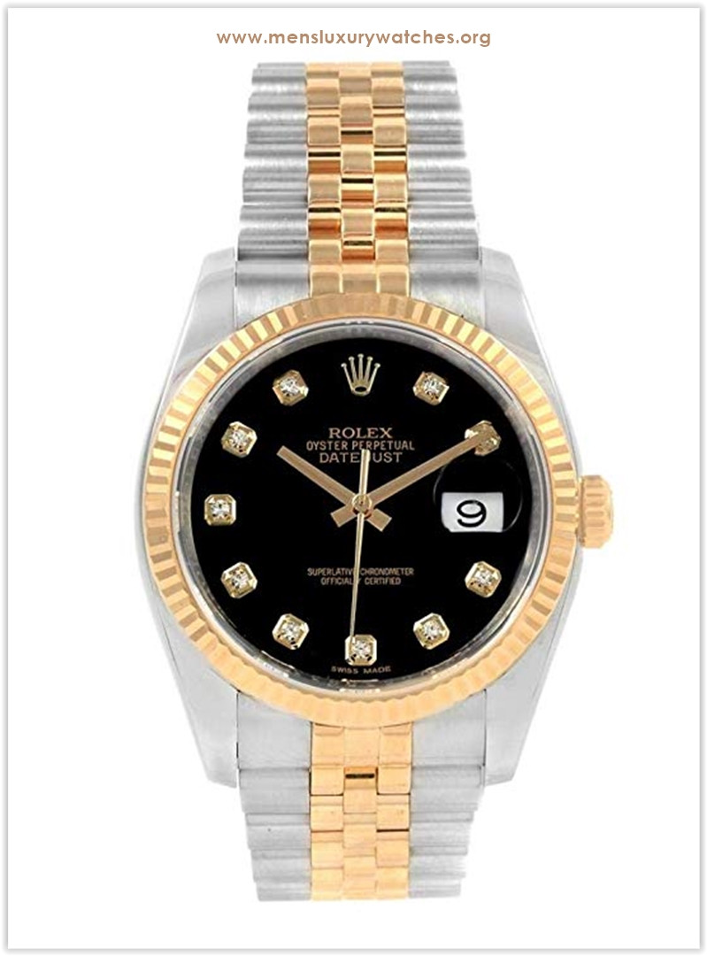 Rolex Datejust Steel Yellow Gold Black Diamond Dial Men's Watch the best price