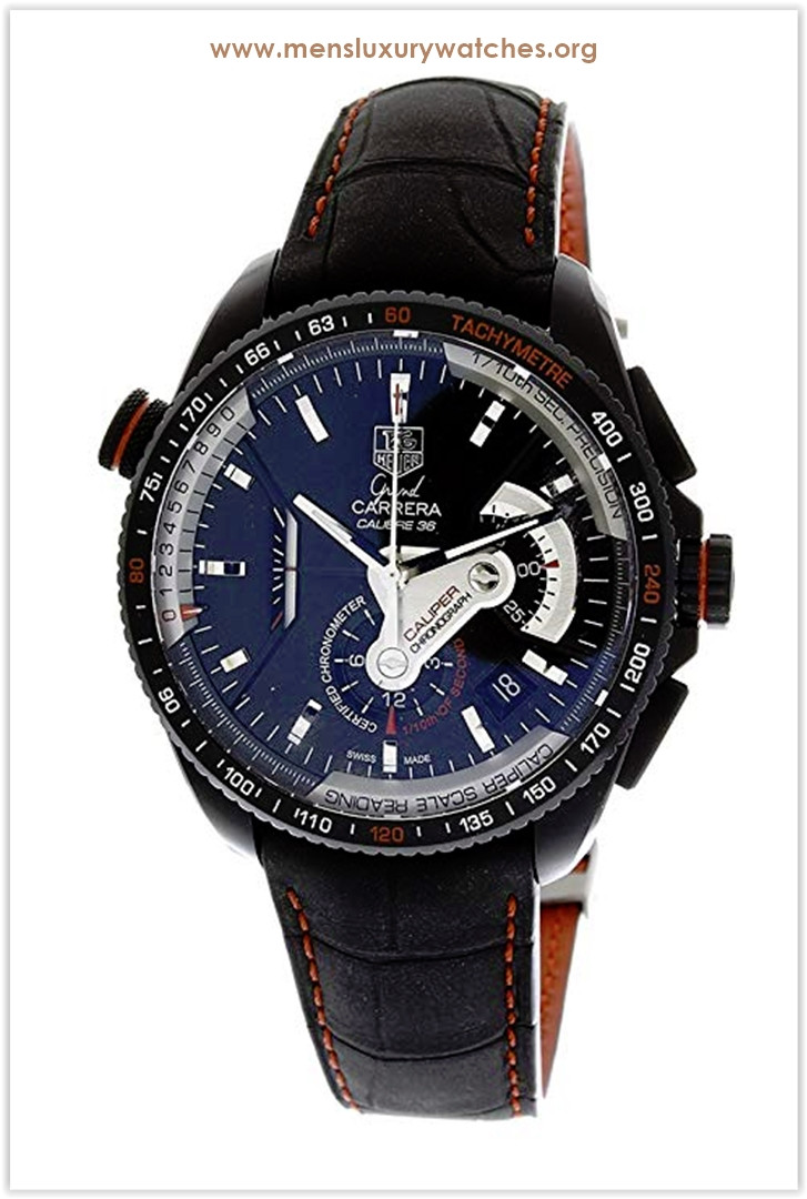 TAG Heuer Grand Carrera Leather Strap Chronograph Black Dial Men's Watch Price