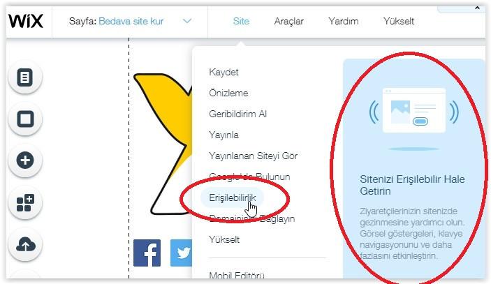 Wix ile kurmuş olduğunuz web sitenizi engelli insanlar için kullanışlı hale getirebilirsiniz