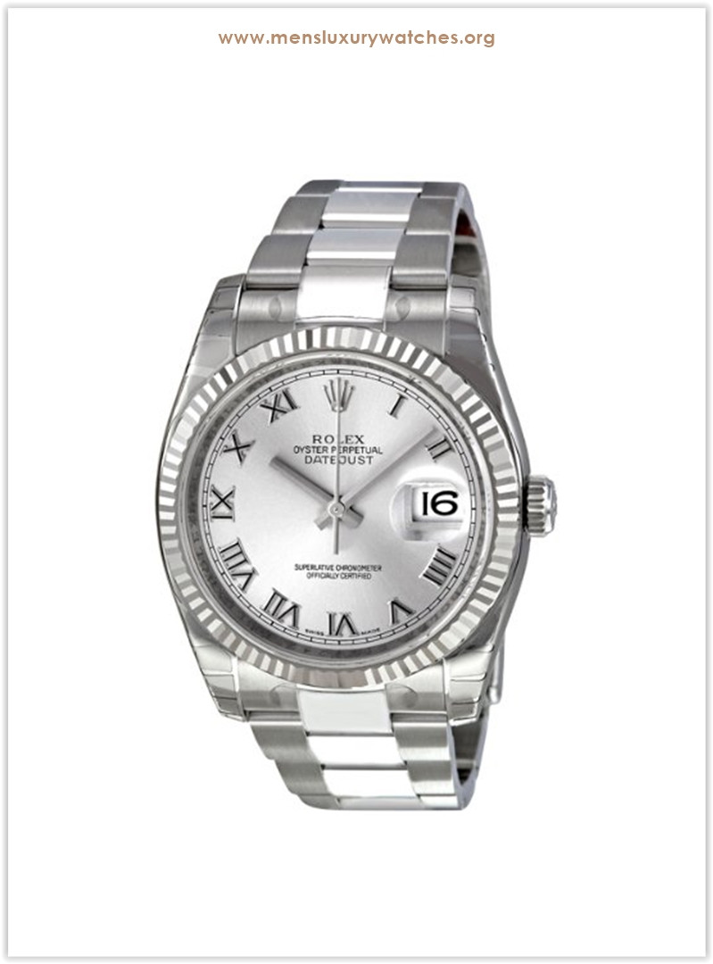 Rolex Perpetual Datejust Rhodium Dial Stainless Steel 18kt White Gold Men's Watch the best price