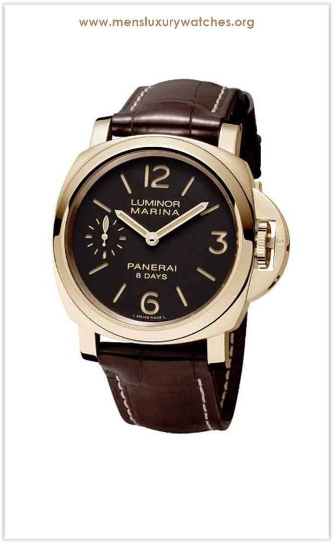 Panerai Luminor Marina Brown Dial 18kt Rose Gold Men's Watch Price