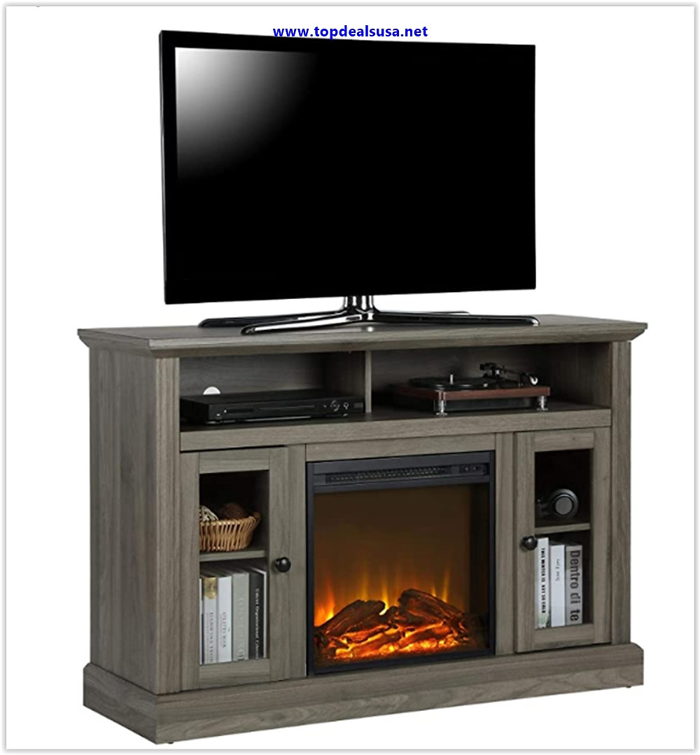 Best buy Ameriwood Home Chicago TV Stand with Fireplace, Rustic Gray