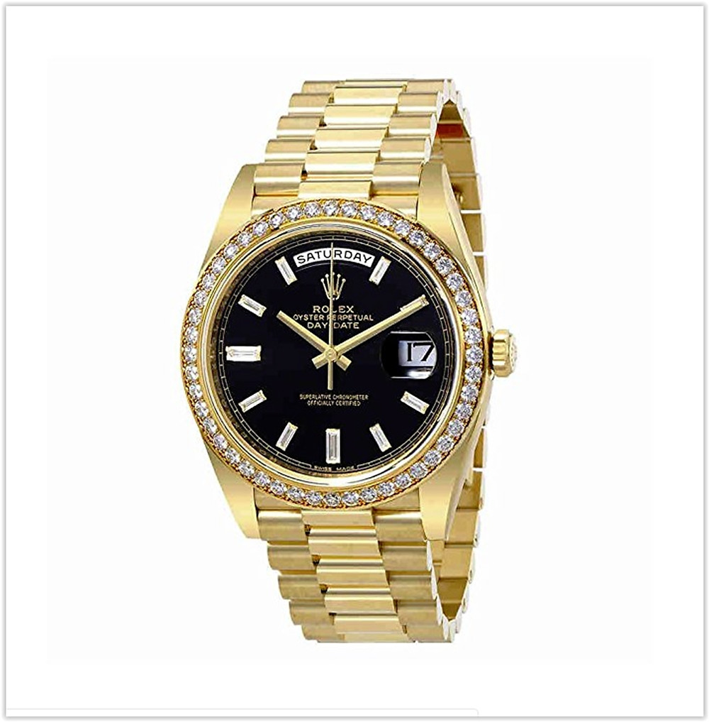 Black friday deals Rolex Oyster Perpetual Day-Date Black Dial Automatic Mens 18 Carat Yellow Gold President Watch