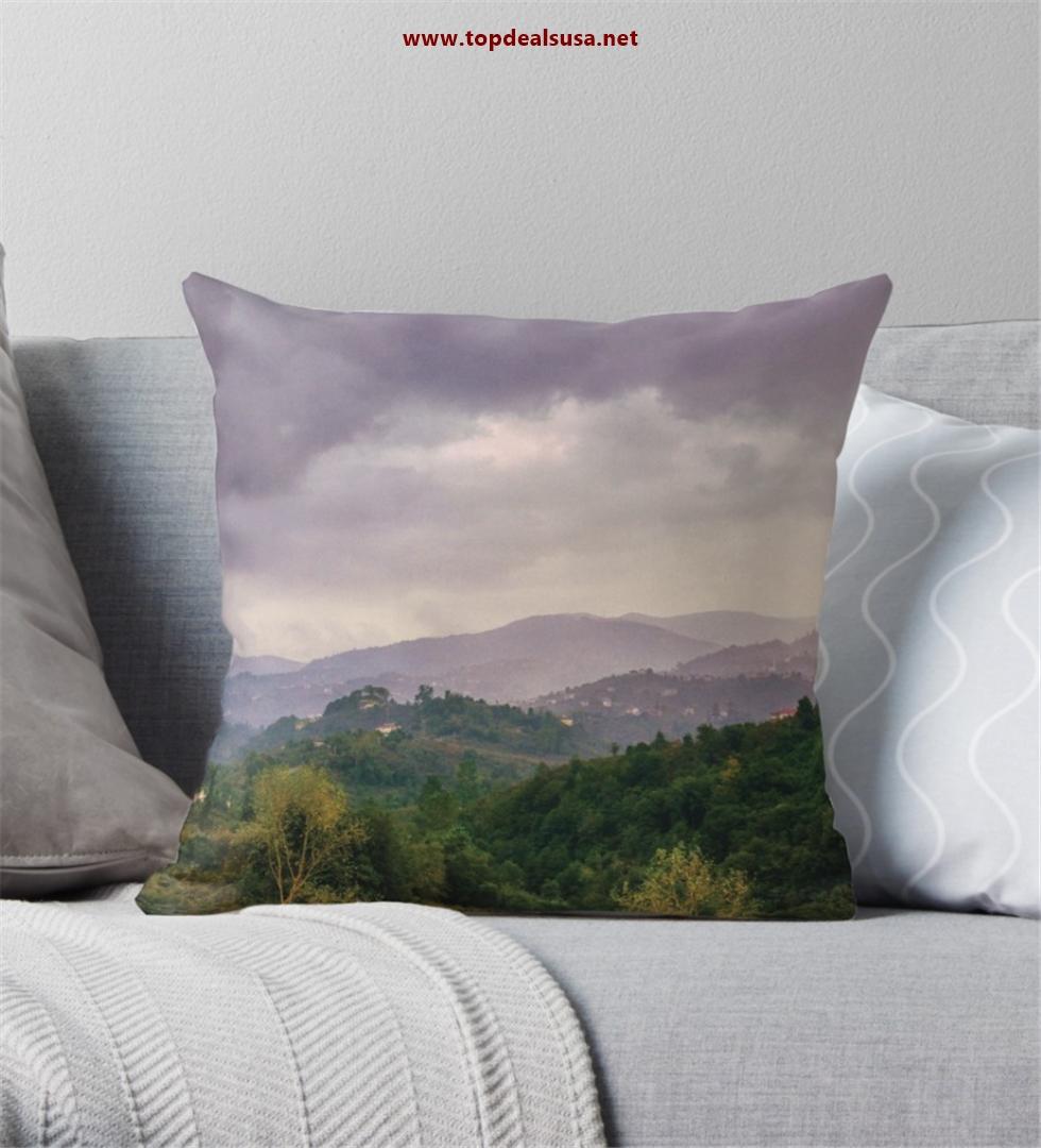Amazing Village View & Rain Throw Pillow