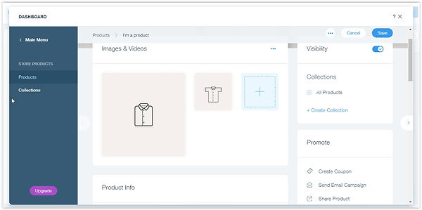 Edit the product and service parts of your eCommerce website