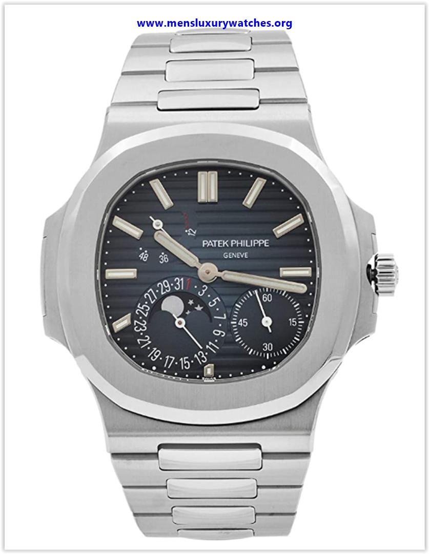 Best buy Patek Philippe Nautilus Moonphase Blue Striped Dial Steel Watch