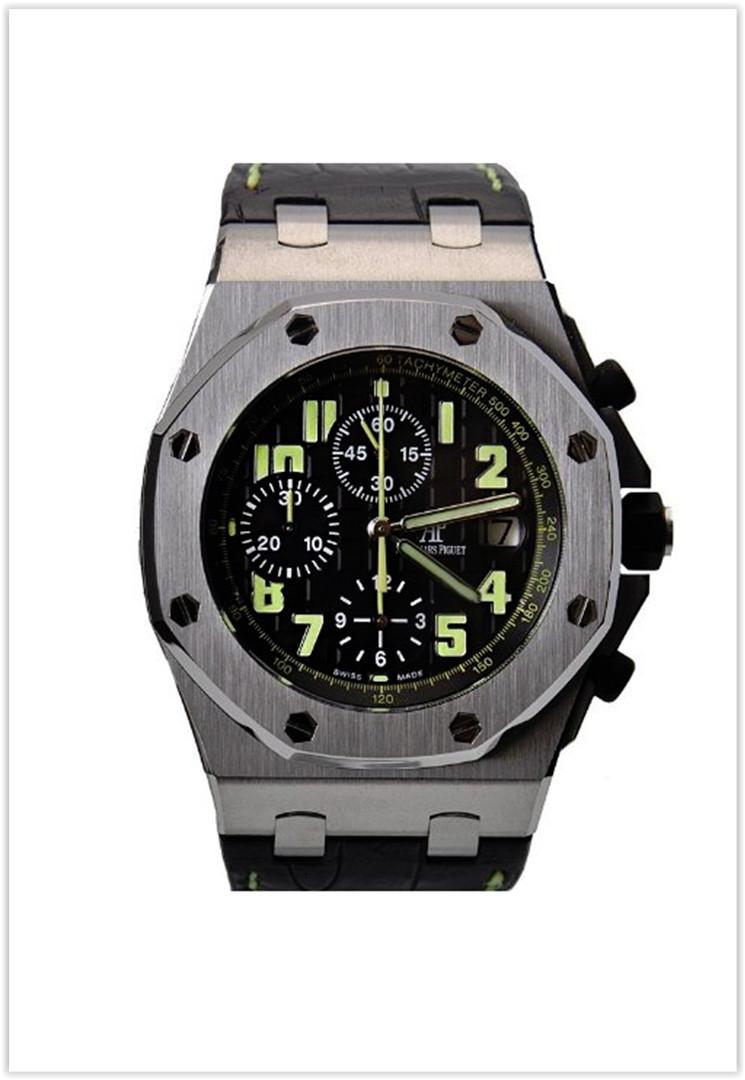 Audemars Piguet Royal Oak Offshore Black Dial Chronograph Black Leather Men's Watch Price