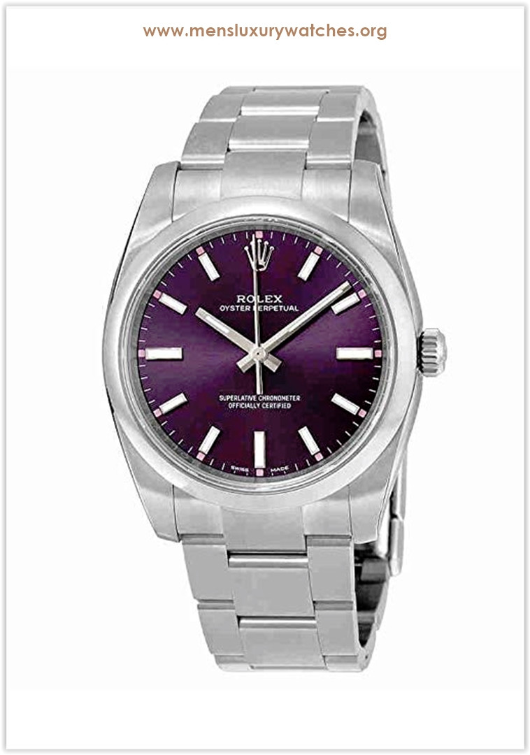 Rolex Oyster Perpetual Automatic Purple Grape Dial Stainless Steel Unisex Luxury Watch Price