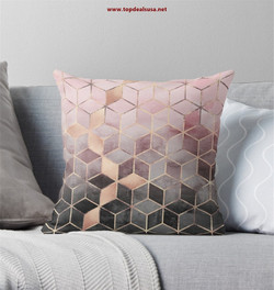 Pink And Grey Gradient Cubes Throw Pillo