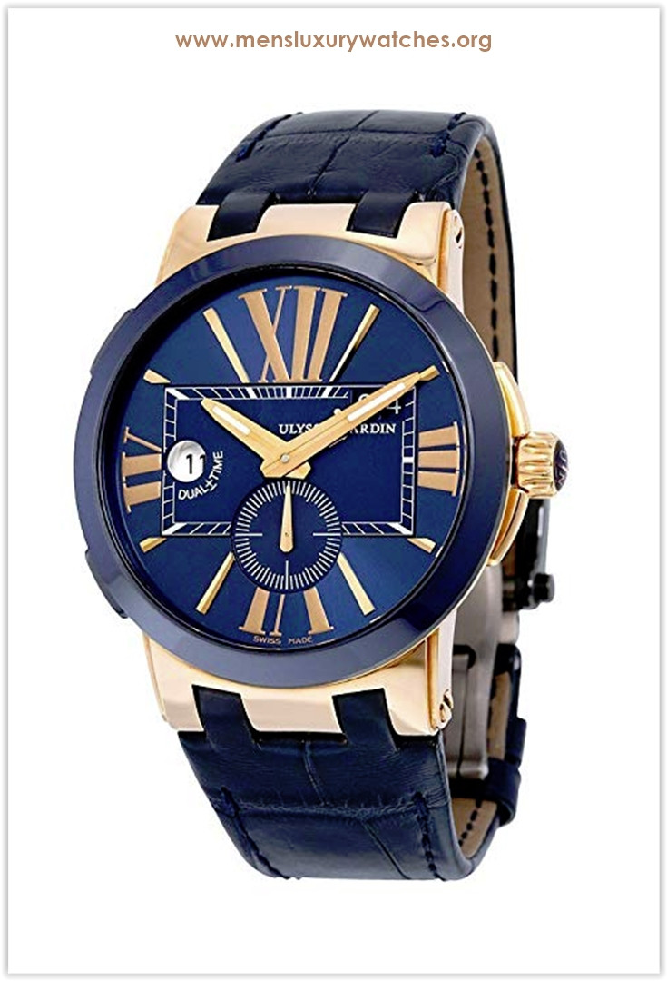 Ulysse Nardin Dual Time Blue Leather Strap Rose Gold Automatic Men's Watch the best price