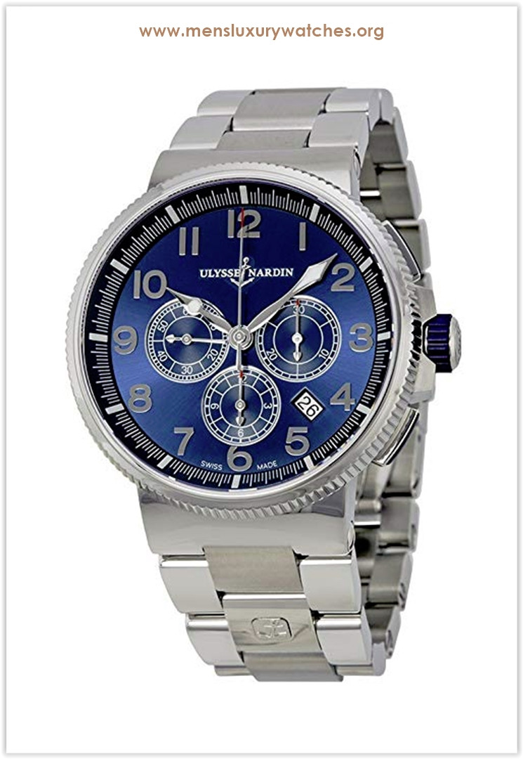 Ulysse Nardin Marine Chronograph Metallic Blue Dial Stainless Steel Men's Watch the best price