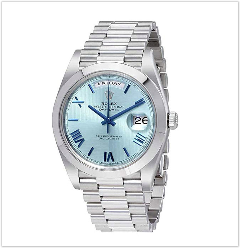 Rolex Day-Date Automatic Ice Blue Dial Platinum Mens Watch  best price