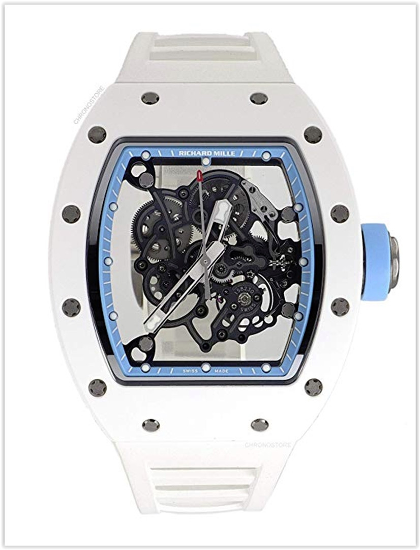 Richard Mille RM 055 Mechanical-Hand-Wind Men's Watch White Ceramic rubber RM055 Price