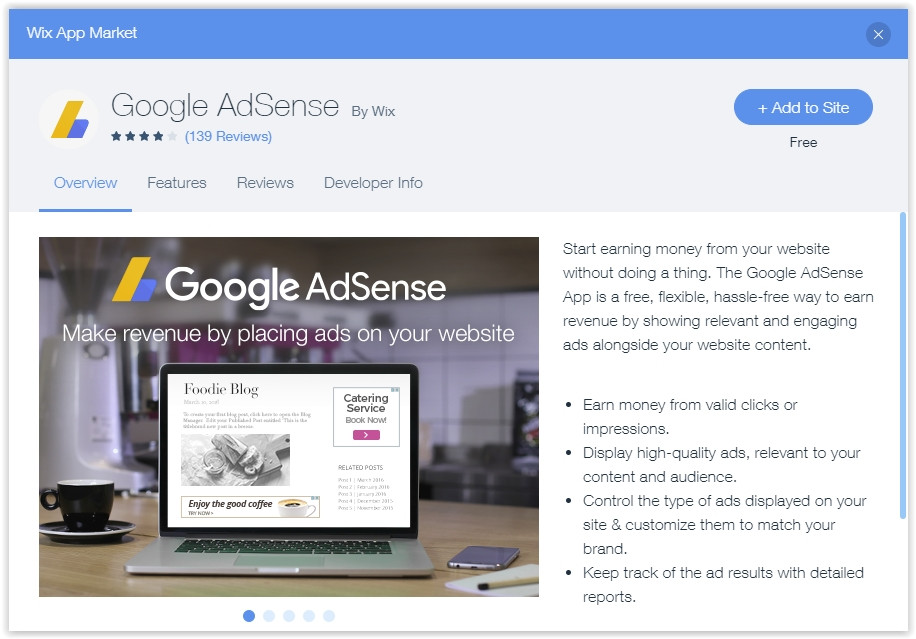 How to add Google Adsense to a website created with Wix