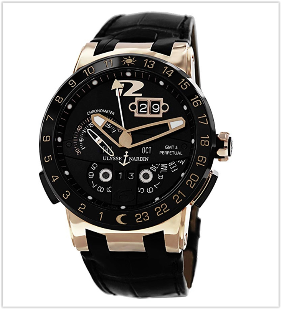 Ulysse Nardin El Toro Men's Black Leather Strap Automatic Perpetual Calendar Rose Gold Watch