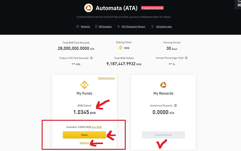 How to buy and stake Automata Network (ATA Coin) on Binance in the UK step 2