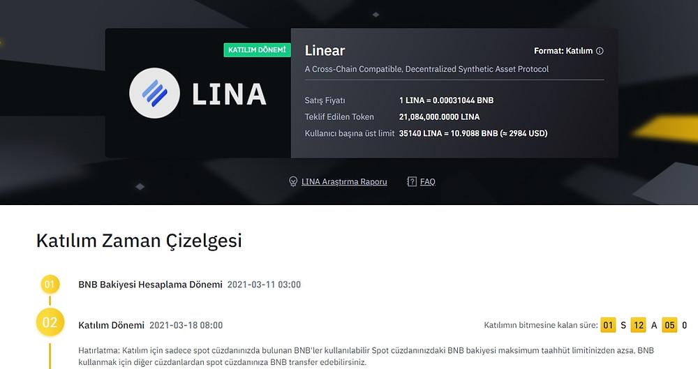 Lienar Finance (Lina) Binance'de Listeleniyor, Nasıl alınır?