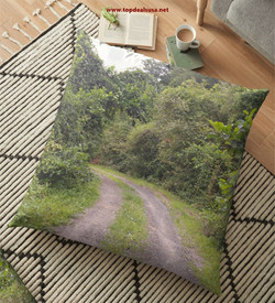 The Road to Green Floor Pillow