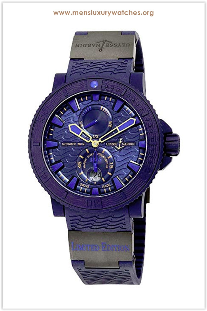 Ulysse Nardin Marine Diver Blue Ocean Automatic Blue Dial Blue Rubber Men's Watch the best price